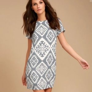 SLATE GREY PRINT SHIFT DRESS - Lulu's